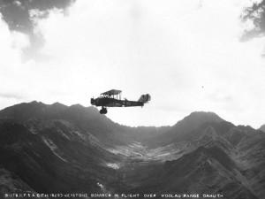U.S. Army Air Corps Keystone Bomber over Koolaus, 1920s.