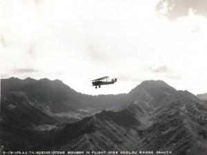 U.S. Army Air Corps Keystone Bomber over Koolau mountains, Oahu 1929.