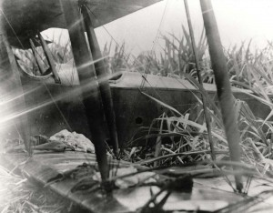 Crash of Lt. Brooks in a JN-6H aircraft at Wheeler Field, 1922.