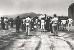Attempting to set an aviation mark as the first woman to fly around the world, Amelia Earhart arrived at Wheeler Field, Oahu, on March 18, 1937 at 5:40 a.m. in her twin-engine Lockheed Electra.