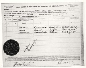 Manifest for Charles Kingsford-Smith's flight from Australia to Wheeler Field, October 29, 1934.