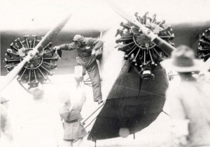 Sir Charles Kingsford Smith dismounts from the Southern Cross at Wheeler Field, October 29, 1934.