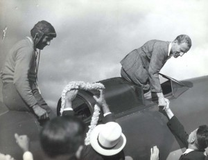 Australian ace Sir Charles Kingsford Smith flew with co-pilot Capt. P. G. Taylor from Suva, Fiji to Honolulu arriving at Wheeler Field, Oahu, on October 29, 1934 in the Lady Southern Cross.
