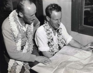 The Australian flying ace Charles Kingsford Smith flew with co-pilot Capt. P. G. Taylor from Suva, Fiji, to Wheeler Field, Honolulu, on October 29, 1934 in the Lady Southern Cross. They go over the flight chart.