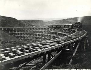 The Mahukona Railroad makes a run along its scenic route on the Big Island. Photo taken before 1936.