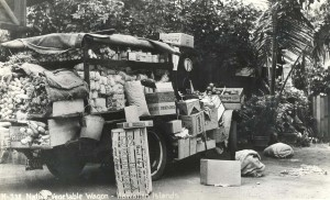 Native Hawaiian vegetable wagon, c1937-1941, Honolulu.