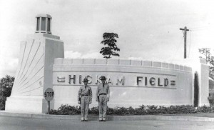One of the concrete portals flanking Hickam Field's main gate, February 21, 1938. This is believed to be a replica of portals at Kitty Hawk where the Wright Brothers made their historic flight.