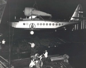 Inter-Island Airways. A Sikorsky S-43 is unloaded at Honolulu Harbor.