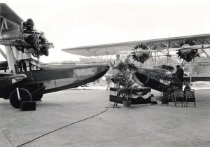 Inter-Island Airways. Mrs. Francis J. Halford christens the new Inter-Island Airways Sikorsky amphibian.