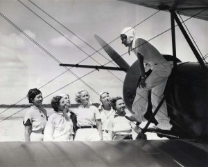 Pilot Andrews, Evelyn Hudson, assistant instructor; Winifred Hudson, Helen Smith, Virginia Thomas, Madeline Hayden, Emma Chung, Clora Curtis. 1935.