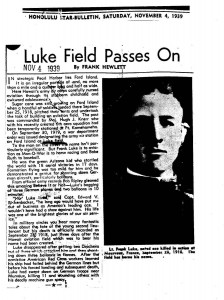 Newspaper article about the closing of Luke Field, November 4, 1939.