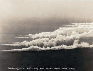 Navy planes laying smoke field February 12, 1932.