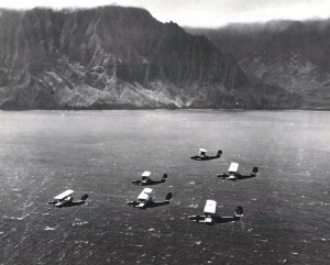 U.S. Navy Bombing planes pass the coastline of Molokai.