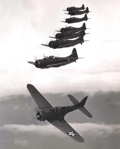 U.S. Navy planes fly in formation.
