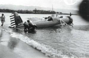 Plane crash at Haleiwa Beach, July 19, 1938.