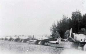 A-12s tied down with cockpit and engine covers for an overnight stay at Haleiwa Field. January 1938.