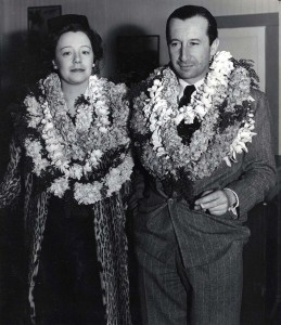 First passengers on Pan American's California Clipper arrive in Honolulu 15 hours after leaving San Francisco: Lady Moira Forbes and William Patrick Hastings.