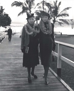 Mrs. Pedro Eyzaguiree and Mrs. Jean Dupuy were passengers on Pan American's first California Clipper crossing from San Francisco to Honolulu.