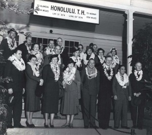 This group flew 15 hours from San Francisco to Honolulu on the inaugural flight of the Pan American California Clipper.