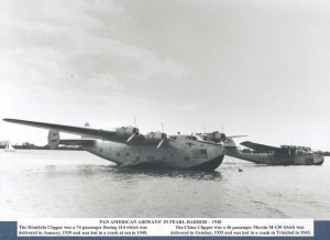 Pam American China Clipper and Sikorsky SU-88 Flying Boat. Photo taken at Ford Island, Pearl Harbor, c1935. These planes were the first type to provide air passenger service to Hawaii.