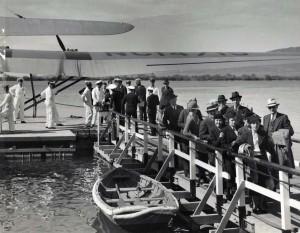 Pan American China Clipper passengers disembark in Pearl Harbor, 1930s.