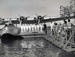 Ceremonies to christen the Pan American Hawaii Clipper at Pearl Harbor. May 1936