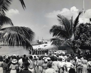 Christening the Pan American Honolulu Clipper in 1939
