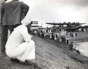 Crowds in Hawaii inspect the Pan American Clipper air giant. April 20, 1935