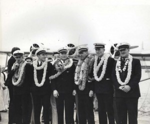 Crew of the Pan American Clipper: W. T. Jarboe Jr, radioman; Henry E. Cannaday Junior Officer; R. O. H. Sullivan, Executive Officer; Capt. Edwin C. Musick; Fred J. Noonan, navigator; Victor A. Wright, Chief Engineer, April 20, 1935.