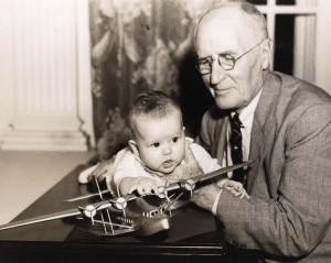 Oldest and youngest Pan American Clipper passengers: Susan Brothers, 4 mo., and Alfred Arnold, 80.