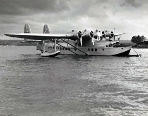 Pan American Clipper at Honolulu preparatory to flight over route which links American's Territory of Hawaii to the Antipodes.