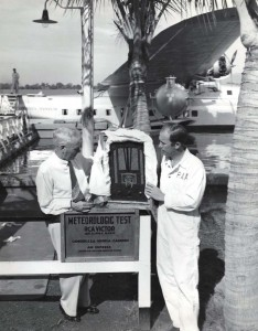 RCA Victor set arrives at Honolulu on Pan American Clipper. W H Stone, Mutual Telephone Co. & RCA distributor, and J A Brooks, PAA employee unload the set.