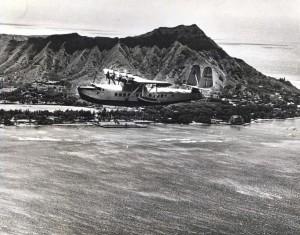 Test flight of Pan American Airways Sikorsky S-43 over Diamond Head.