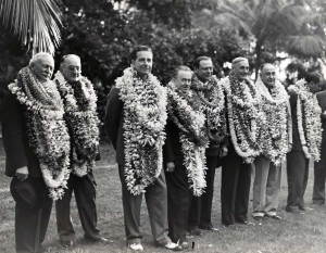 October 1936 Pan American Clipper Passengers receive a lei welcome in Honolulu: Wallace Alexander, Paul Patterson, Cornelius V. Whitney, Roy Howard, William Roth, W. G. McAdoo, Amon G. Carter (publisher Fort Worth Star Telegram), and Juan T. Trippe, president Pan American Airways.