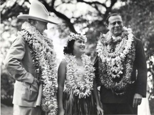 Amon G. Carter, publisher, Fort Worth Star Telegram; dancer Ululani Barrett, William R. Roth, president Matson Navigation Co., arrived on the Pan American Philippine Clipper, October 1936.