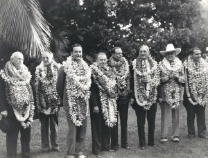 Wallace Alexander, chair Alexander & Baldwin; Paul Patterson, publisher Baltimore Sun; Cornelius Vanderbilt Whitney, Chairman Pan American Airways board; Roy Howard, publisher New York World Telegram; William Roth, President Matson Navigation; Sen. William McAdoo, CA; Amon Carter, publisher Fort Worth Star Telegram; and Juan Trippe, president Pan American World Airways, arrived on the Pan American Philippine Clipper, October 1936.