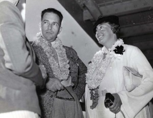 Thea Rasche, famed aviatrix, and Reeder Nichols arrived in Hawaii on November 26, 1934. Nichols was radio operator in the London to Melbourne Air Derby with Pangborn & Turner. Rasche was passenger in the Dutch plane that won.