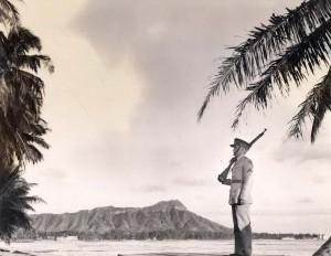 Waikiki Beach, with Diamond Head in the back ground, 1938.