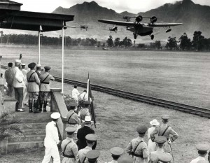 B-12 Bombers swoop down before Schofield Barracks reviewing stand as members of Congress looked on, September 3, 1935.