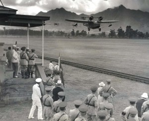 US Army Schofield Barracks 9-3-1935. One of the Army's new bombers swooped down before the reviewing stand at a recent display of the Army's forces in Hawaii as members of Congress looked over armed forces. It was the largest review ever held in America.