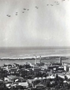 US Army Air Corps December 21, 1934. US service planes in formation over Honolulu honoring the Wright Brothers. The planes later flew out to sea and dropped lei in memory of Capt Charles Ulm and his companions who died attemping to fly beween California and Australia.
