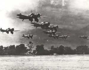 Curtiss A-12 Shrike aircraft landing at Wheeler airstrip, 1935.