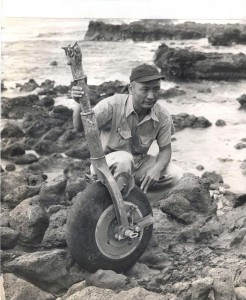 All that remains of one of the U.S. Army's fast pursuit planes is this wheel found floating 30 miles from Honolulu by Sam Suzuki. It is believed to be from a plane piloted by Lt. Watson Frutchey which disappeared during gunnery practice.