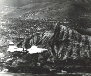 This crewless B-17 Flying Fortress Drone on its way to record breaking flight from Hilo to Muroc Army Airfield, August 6, 1946.