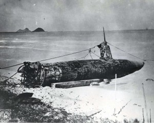 Japanese midget submarine went aground at Bellows Field on December 7, 1941. It was salvaged by a Navy crew.