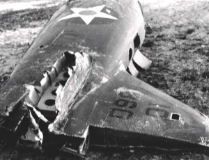 Fuselage of wrecked O-47B at Bellows Field following the December 7, 1941 attack.