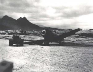 Damaged P-40 at Bellows Field, December 7, 1941.