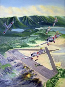 Drawing of Hickam Field with Japanese planes flying over, December 7, 1941.