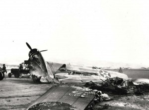 B-18 bomber was wrecked by Japanese at Hickam Field, December 7, 1941.