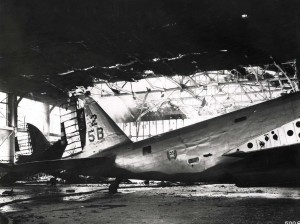 Plane was damaged inside hangar at Hickam Field, December 7, 1941.
